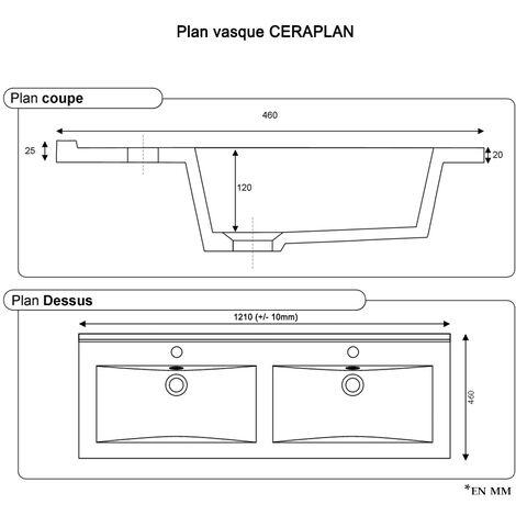 Plan double vasque en céramique CERAPLAN - 120 cm