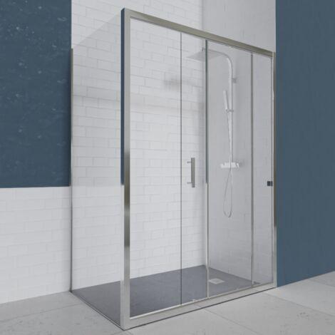 Porte de douche d'angle avec paroi coulissante NERINA - 160x80 cm