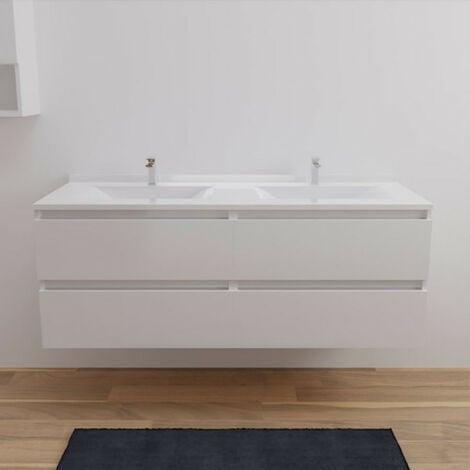 Caisson double vasque ARLEQUIN 140x55 cm avec plan vasque - Coloris au choix | blanc - blanc