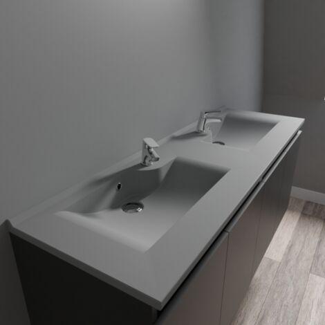 Plan double vasque design gris RESILOGE - 140 cm