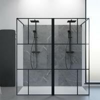 Paroi de douche industrielle noire Atelia verre 8 mm - 190x200 cm