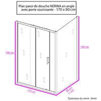 Porte de douche d'angle avec paroi coulissante NERINA - 170x80 cm