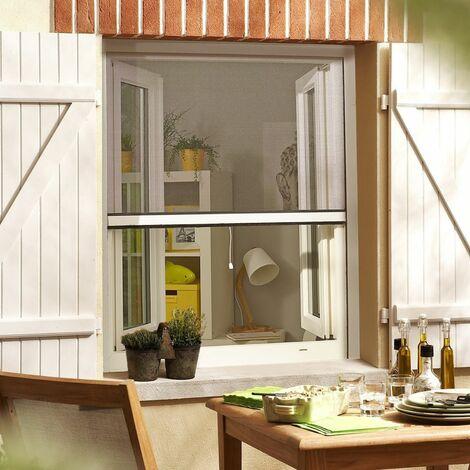Moustiquaire enroulable en PVC Recoupable pour fenêtre - Blanc - L80 x H130cm - Blanc