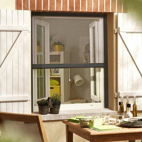 Moustiquaire Enroulable en Alu Recoupable pour Fenêtre - Gris anthracite - L80 x H130cm - Gris anthracite