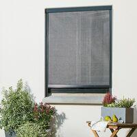 Moustiquaire Enroulable et Recoupable en alu pour Fenêtre - Gris anthracite - L80 x H100cm - Gris anthracite