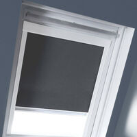 Store Enrouleur Occultant cadre blanc compatible VELUX® - Gris anthracite - 97 x 116cm - S08 - Gris anthracite