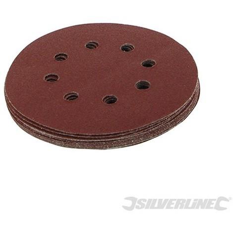 Discos de lija perforados autoadherentes 125 mm. 10 pzas (Grano 80. 125 mm)