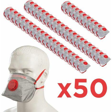 Pack 50 Masques FFP3 mieux que FFP2 pliable EN 149 avec Valve d'expiration