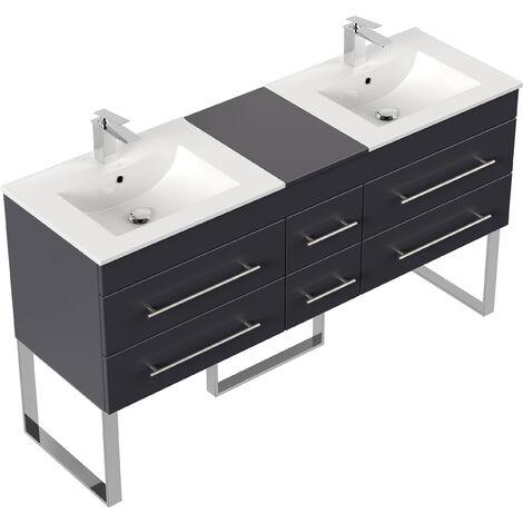 Meuble salle de bain double vasque Roma XL anthracite satiné à poser