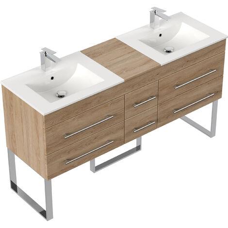Meuble salle de bain double vasque Roma XL décor chêne à poser