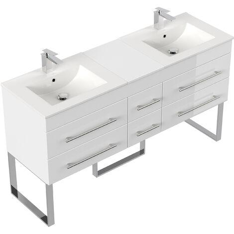 Meuble salle de bain double vasque Roma XL blanc brillant à poser