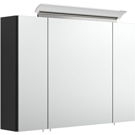 Armoire de toilette avec miroirs et Lampe LED acrylique 90cm en Noir satiné