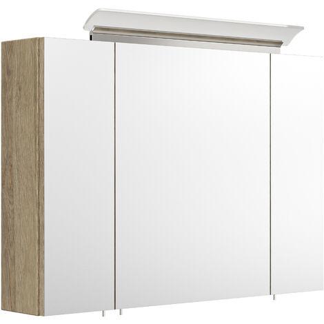 Armoire de toilette avec miroirs et Lampe LED acrylique 90cm en Décor chêne