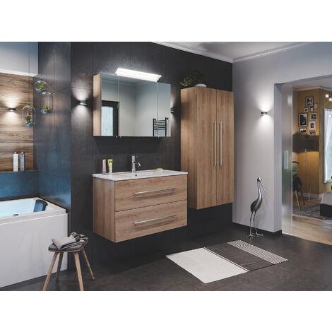 Ensemble de SDB Firenze 90 (4 Pièces/C) en décor chêne avec armoire de toilette
