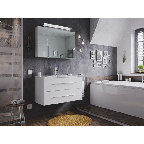 Ensemble de SDB Firenze 90 2 Pièces en blanc brillant avec armoire de toilette
