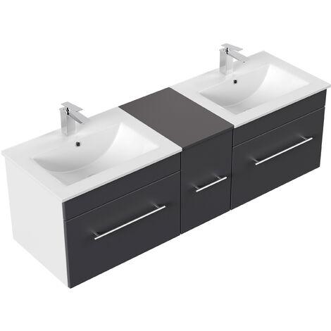 Meuble salle de bain double vasque Roma anthracite satiné