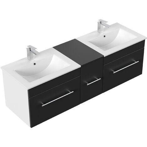 Meuble salle de bain double vasque Roma noir satiné