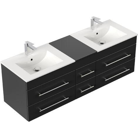 Meuble salle de bain double vasque Roma XL noir satiné