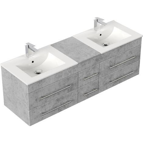 Meuble salle de bain double vasque Roma XL Aspect Béton