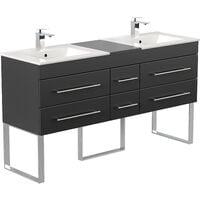 Meuble salle de bain double vasque Roma XL noir satiné à poser