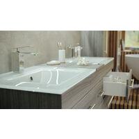 Ensemble de SDB Vitro XL 4 pcs inkl. vasque en verre miroir LED chêne argenté