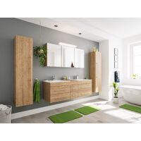 Ensemble de SDB Roma XL 4 pcs inkl. Armoire toilette de miroirs en décor chêne