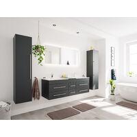Ensemble meuble de SDB Roma XL 4 pièce incl. miroir LED en noir satiné