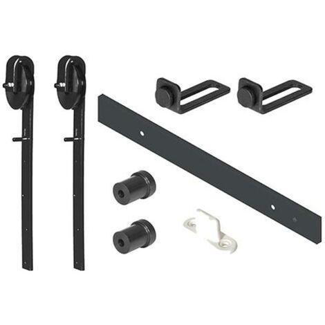 MEGANEI kit puerta granero nylon 1.8 m 30x5 negro kit 1,8 mt