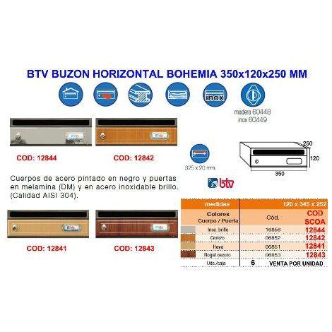 MIBRICOTIENDA btv buzon horizontal bohemia 3 nogal oscuro 350x120x250 mm 06853