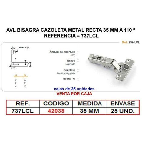 MIBRICOTIENDA avl bisagra cazoleta metal recta 35 mm a 110 º clip on 737lcl (caja 25 unidades)
