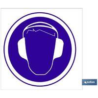 PLIMPO señal poliestireno 1,5mm 210x210 obligatorio cascos auditivos