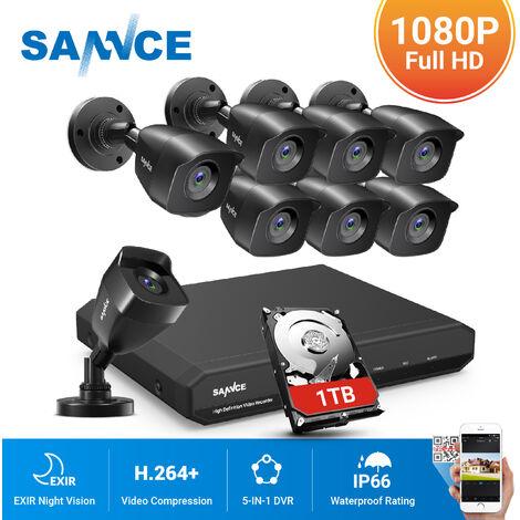 SANNCE Sistema de cámara de seguridad CCTV 1080N con 5 en 1 1080N H.264 DVR y 8 * 1080P HD cámaras de seguridad - Incluye disco duro de 1TB