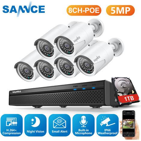 SANNCE Sistema de seguridad de video de red PoE FHD de 5MP, NVR de vigilancia de 8CH y 5MP con compresión de video H.264 +, cámaras impermeables de 6 * 5MP HD - Incluye disco duro de 1TB