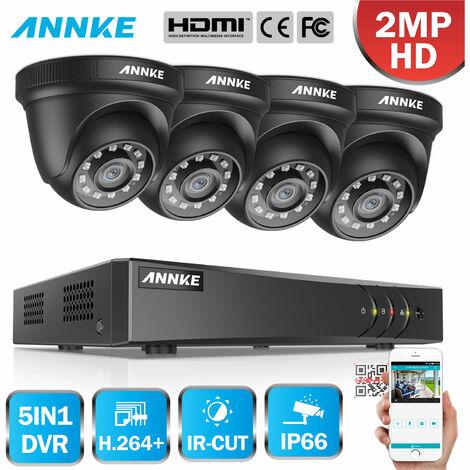 ANNKE Sistema de cámara de seguridad de 8 canales HD-TVI 1080P Lite H.264 + DVR con 4 × 1080P HD Cámaras CCTV impermeables para interiores / exteriores negro - No contiene un disco duro