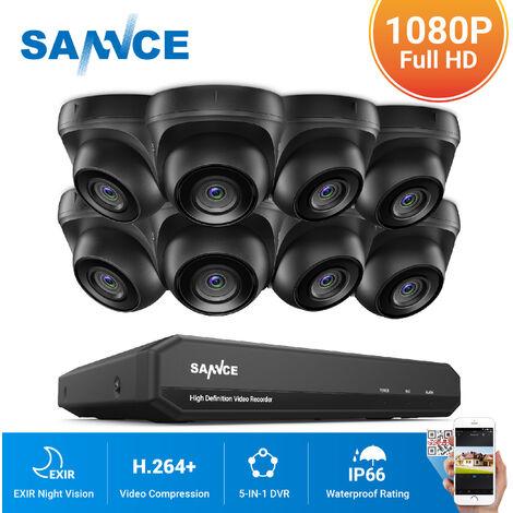 SANNCE Kit Video vigilancia cctv sistema de seguridad 8CH TVI 5 en 1 grabadora + cámara de vigilancia exterior a prueba de intemperie HD 1080p visión nocturna – sin disco duro