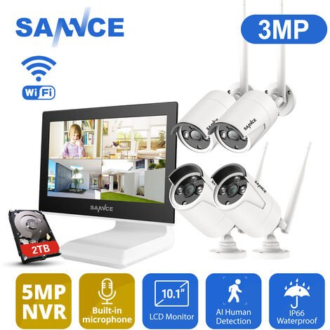 SANNCE Kit CCTV inalámbrico con pantalla LCD de 10.1 pulgadas videovigilancia HD 720P NVR + 4 cámara IP wireless exterior visión nocturna de 100ft/30m – con disco duro de 2 TB