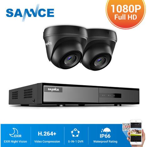 SANNCE Kit Video vigilancia cctv sistema de seguridad 4CH TVI DVR grabadora + 2 cámara de vigilancia exterior a prueba de intemperie HD 1080p visión nocturna – sin disco duro