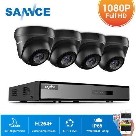 SANNCE kit videovigilancia exterior 4CH TVI DVR grabadora + 4 cámara HD 1080P visión nocturna de 20m – sin disco duro