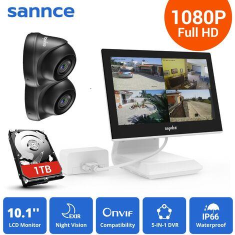 SANNCE KIT Video Vigilancia con pantalla 10.1 pulgadas LCD 4CH DVR + 2 cámara domo HD 1080P interior / exterior visión nocturna 20m – con disco duro de 1TB