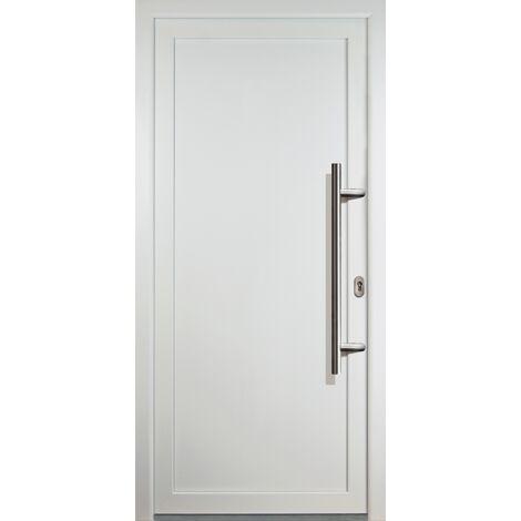 Portes d'entrée aluminium modèle 01, intérieur: blanc, extérieur: blanc largeur: 98cm, hauteur: 208cm, sens d'ouverture: tirant droit