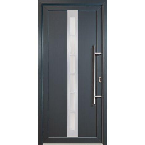 Portes d'entrée aluminium modèle 38, intérieur: blanc, extérieur: titan largeur: 98cm, hauteur: 200cm, sens d'ouverture: tirant droit