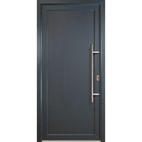 Portes d'entrée aluminium modèle 01, intérieur: titan, extérieur: titan largeur: 108cm, hauteur: 200cm, sens d'ouverture: tirant droit