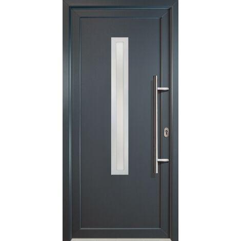 Portes d'entrée aluminium modèle 70, intérieur: titan, extérieur: titan largeur: 108cm, hauteur: 200cm, sens d'ouverture: tirant droit