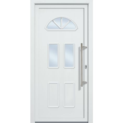 Portes d'entrée classique modèle 44, intérieur: blanc, extérieur: blanc largeur: 98cm, hauteur: 208cm, sens d'ouverture: tirant droit