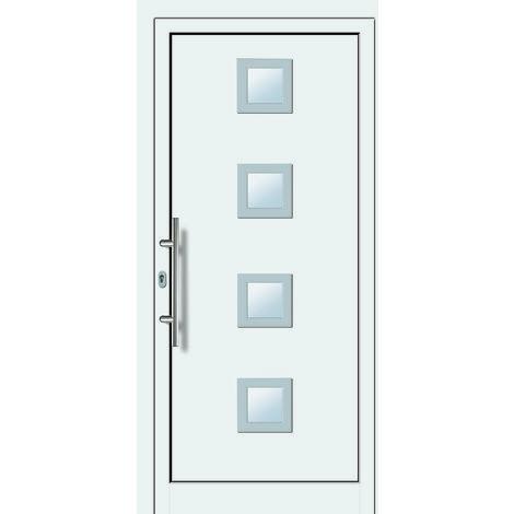 Portes d'entrée aluminium/PVC modèle 484, intérieur: blanc, extérieur: blanc largeur:88cm, hauteur:208cm, sens d'ouverture: DIN gauche
