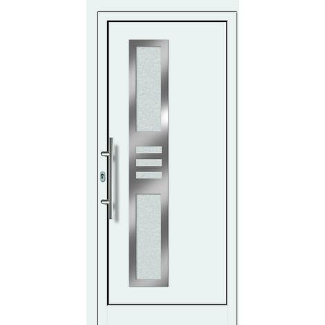 Portes d'entrée aluminium/PVC modèle 453, intérieur: blanc, extérieur: blanc largeur:108cm, hauteur:200cm, sens d'ouverture: DIN gauche