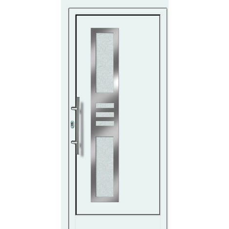 Portes d'entrée Exklusiv modèle 853, intérieur: blanc, extérieur: blanc largeur:108cm, hauteur:200cm, sens d'ouverture: DIN gauche