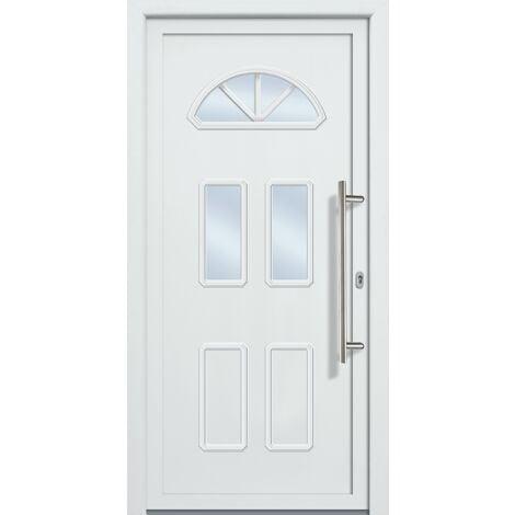 Portes d'entrée classique modèle 44, intérieur: blanc, extérieur: blanc largeur: 108cm, hauteur: 200cm, sens d'ouverture: tirant droit