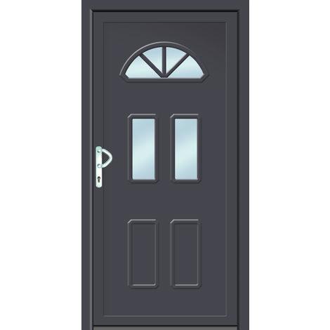 Portes d'entrée classique modèle B6, intérieur: blanc, extérieur: titane largeur:108cm, hauteur:208cm, sens d'ouverture: DIN gauche