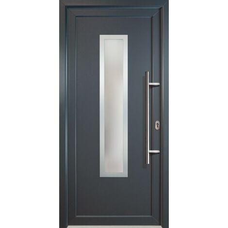 Portes d'entrée classique modèle C1, intérieur: blanc, extérieur: titane largeur:108cm, hauteur:200cm, sens d'ouverture: DIN droite